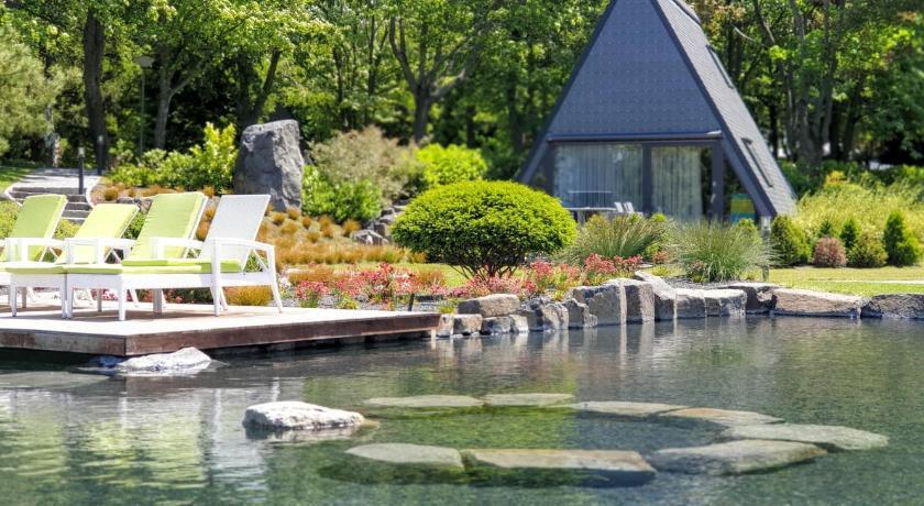 piscine naturelle dans un jardin reposant